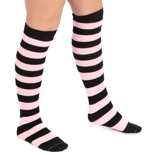black and light pink high socks