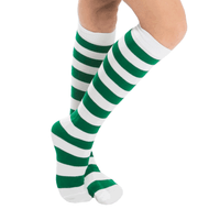 white and green candy cane socks