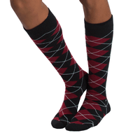 black and maroon argyle socks