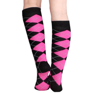black and neon pink argyle socks