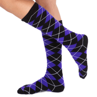 black and purple argyle socks