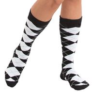 black and white argyle knee socks