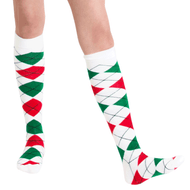 Green white and red argyle socks