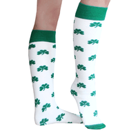 green shamrock knee socks