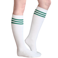 White/Green Tube Socks
