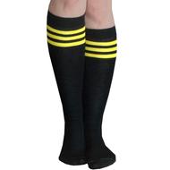black yellow tube knee socks