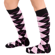 black pink argyle knee high socks
