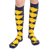 navy blue gold argyle knee socks
