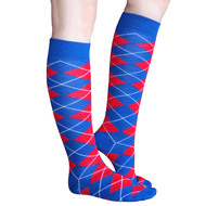red white blue argyle socks