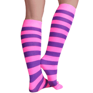neon pink and purple striped socks