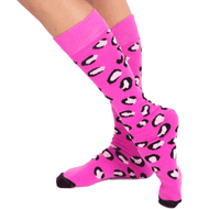 funky pink cheetah knee socks