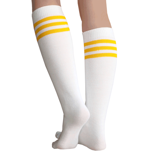 Pearsox Athletic All In One Knee High Stirrup Socks White//Gold