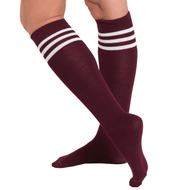 maroon tube socks with white stripes