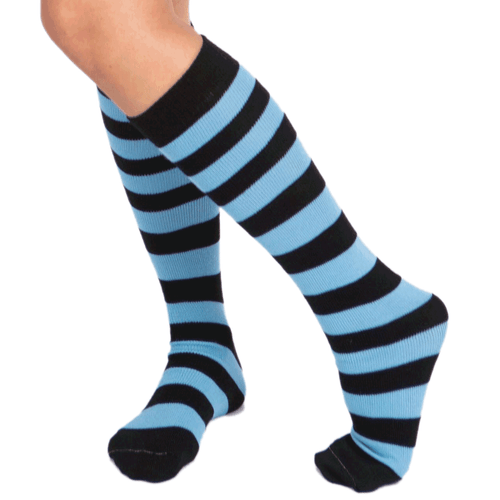 black and light blue striped socks