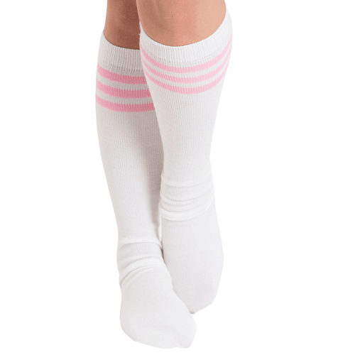 light pink and white tube socks