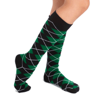 black and green argyle socks