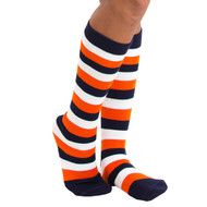navy blue white and orange striped knee highs