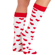 red heart knee high socks