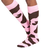 pink cow knee high socks