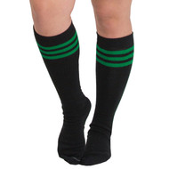 black and green tube knee socks