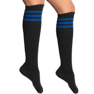 black and royal blue knee socks