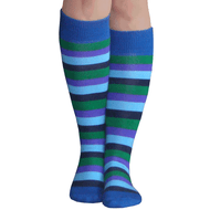 blue rainbow striped knee highs