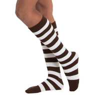 brown and white striped socks