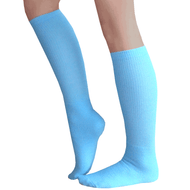 light blue solid knee high socks