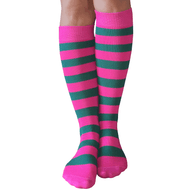 long pink/teal socks