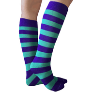 purple and teal socks