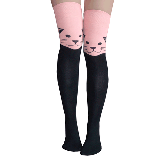 pink cat thigh highs