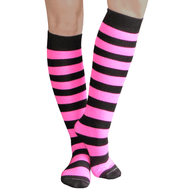 neon pink striped tube socks