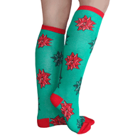 green and red bow knee highs