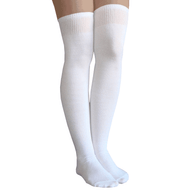 solid white thigh highs