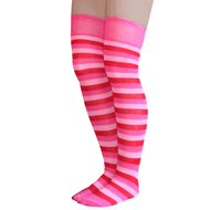 pink striped thigh highs