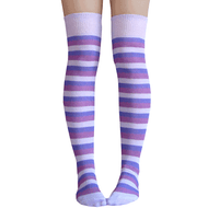 purple striped thigh highs