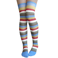 beach side striped over the knee socks