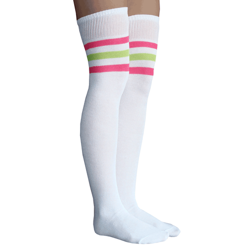neon pink and lime green striped socks