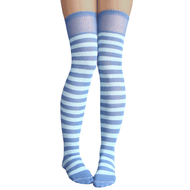 blue striped thigh highs