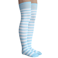 light blue and white striped socks