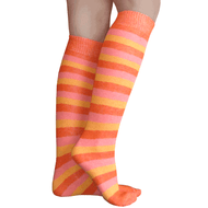 orange and pink striped knee highs