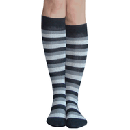 black and gray striped knee highs