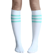 Mint Green Striped Tube Socks