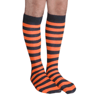 mens black and orange striped socks