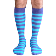 mens purple and teal striped socks