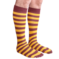 mens maroon and gold striped socks