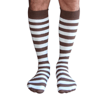 mens striped socks (brown/white)