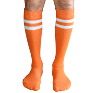 mens orange tube socks with 2 white stripes