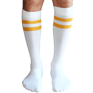 mens white tube socks with gold stripes