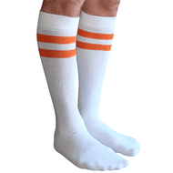 mens white tube socks with orange stripes